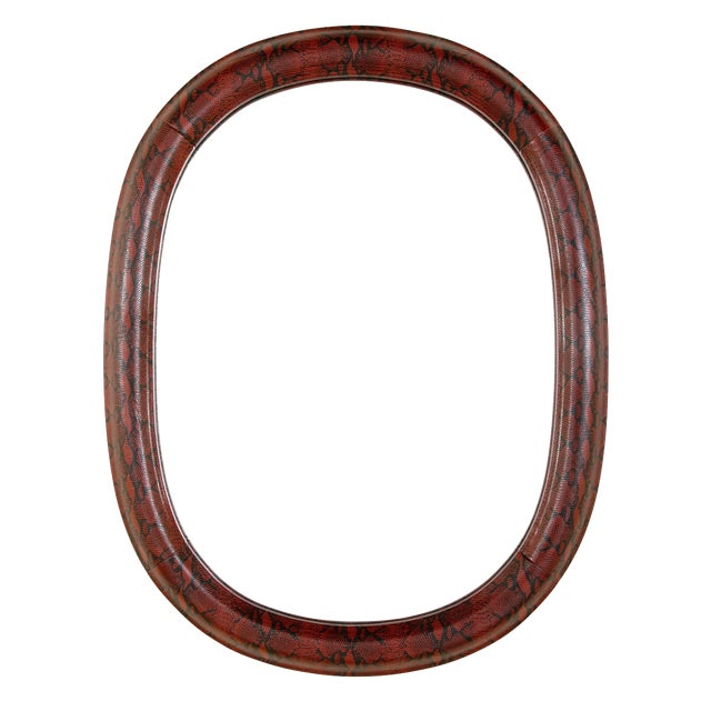 Mid-Century Modern Burgundy Leather Mirror With Embossed Print For Sale