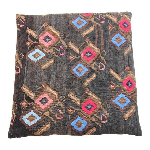 Vintage Turkish Tribal Kilim Rug Floor Pillow & Dog Bed 36'' x 36 For Sale