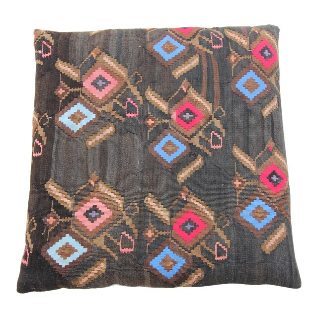 Vintage Turkish Tribal Kilim Rug Floor Pillow & Dog Bed 36'' x 36 - Image 1 of 7