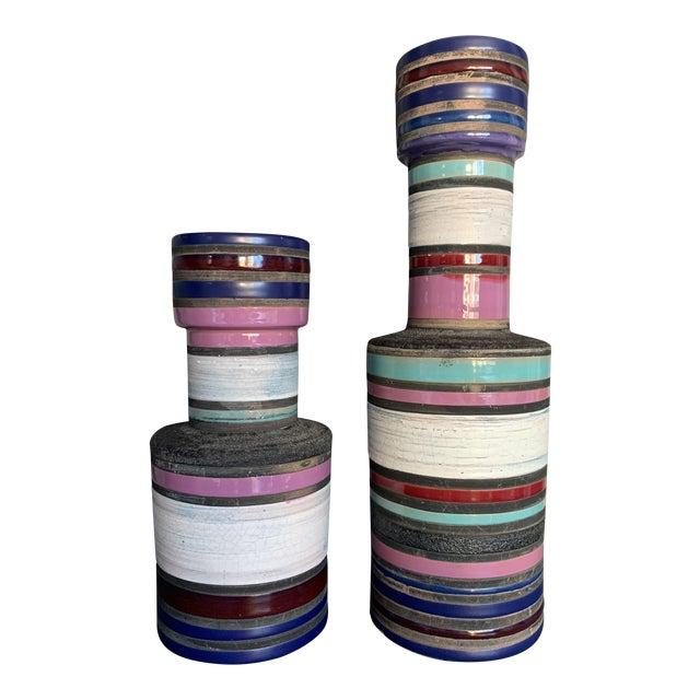 """1950s Vintage Aldo Londi """"Cambogia"""" Ceramic Vases- a Pair For Sale"""