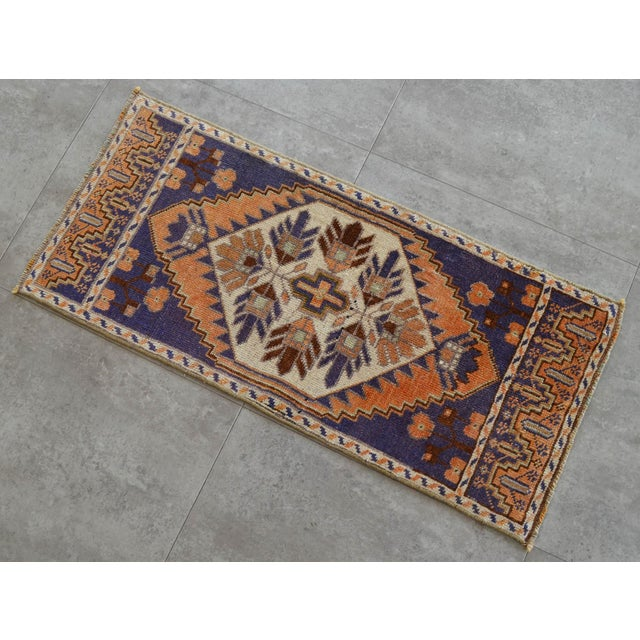 """Hand Knotted Door Mat, Entryway Rug, Bath Mat, Kitchen Decor, Small Rug, Laundry Decor Dimensions: 17"""" x 32"""" or 1 ft 5 in..."""