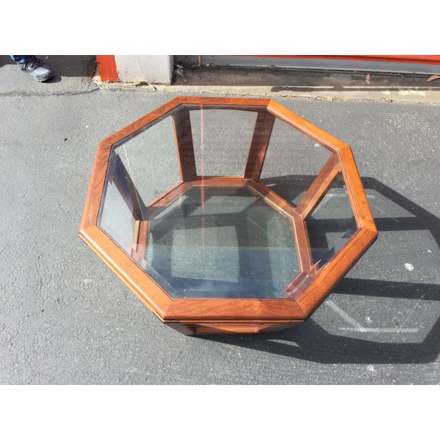 """Art Deco coffee table, octagon shaped, made from walnut. Excellent condition. No flaws., two glass shelves, This is 34""""..."""