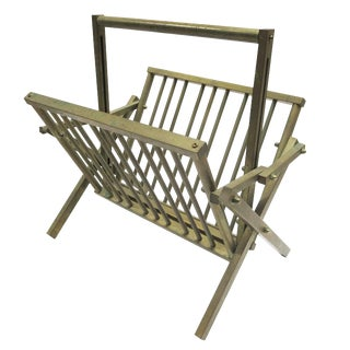 Mid Century Solid Brass Collapsible Magazine Rack For Sale