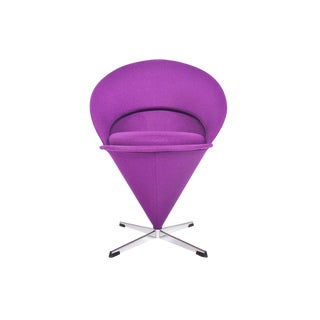 Verner Panton Swivel Cone Chair in Purple Wool For Sale
