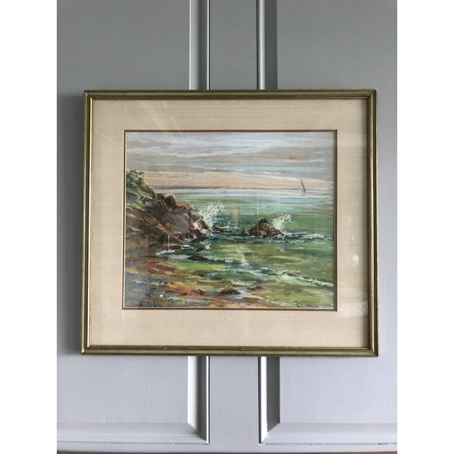 Emerald Vintage Mid-Century Colorful Pastel Seascape Drawing For Sale - Image 8 of 8