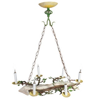 Small Yellow, Green Painted Chandelier in the Form of a Log, With Leaves For Sale