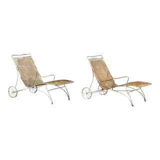 Mid Century Modern Russell Woodard Wrought Iron Patio Chairs- A Pair For Sale