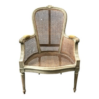 Antique French Caned Fauteuil Chair For Sale