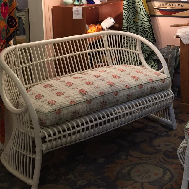 White Rattan Love Seats - A Pair - Image 4 of 8