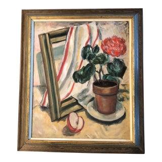 Original Vintage Mid Century Still Life W/ Geranium Painting For Sale