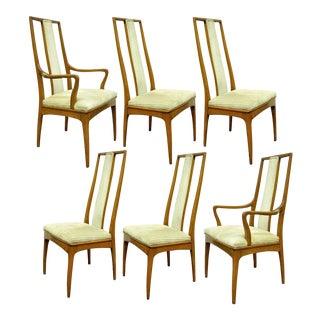 Set of 6 Vintage John Stuart Mid Century Danish Modern Walnut Dining Chairs