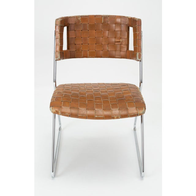 Mid-Century Modern Set of Four Dining Chairs With Woven Leather Upholstery by Chromcraft For Sale - Image 3 of 13