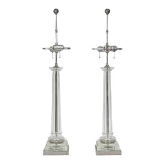 1970s Nickel and Glass Column Shaft Table Lamps Attributed to Paul Hanson - a Pair For Sale
