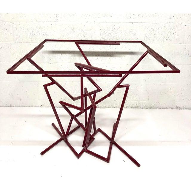 Sculptural Enamel Metal Post Modern Table For Sale - Image 9 of 9