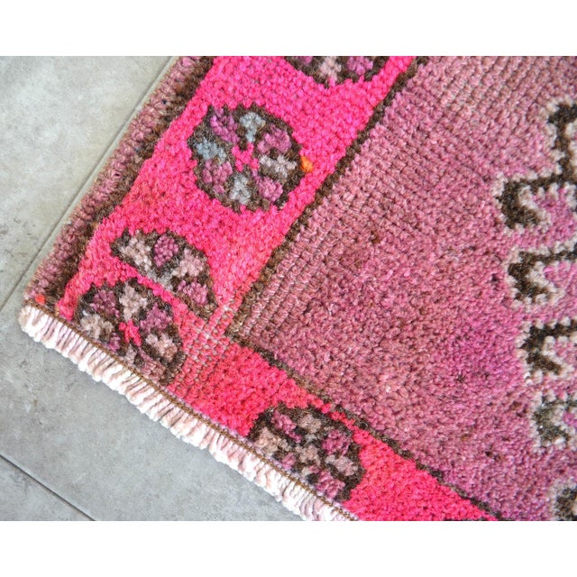 Boho Chic Distressed Low Pile Turkish Yastik Petite Rug Hand Knotted Faded Mat - 22'' X 33'' For Sale - Image 3 of 5