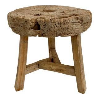 Primitive Antique Wood Wheel Side Table For Sale