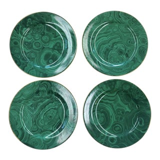 Malachite Plates for Neiman Marcus, Set of 4 For Sale