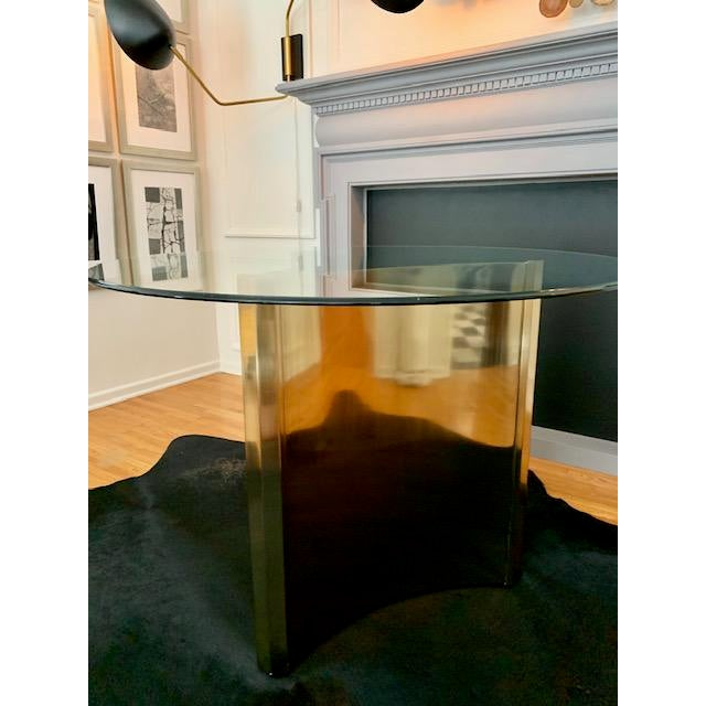 "Mastercraft Trilobi brass table with 42"" round beveled glass top. No damage or scratches. Fantastic original condition."