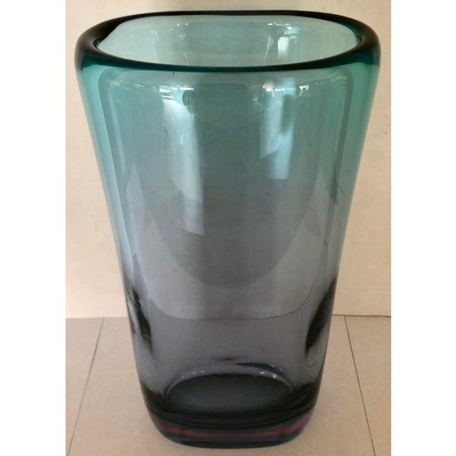 Sleek and thick Murano glass vase. Teal body with purple base. Beautiful colors. Few small scratches on bottom. Two micro...
