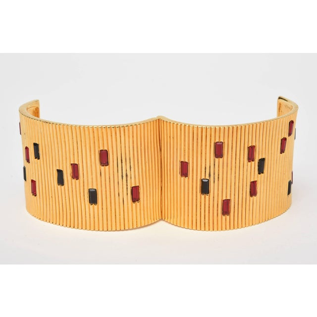 Gold Paloma Picasso Glass and Ribbed Gold Filled Cuff Bracelet For Sale - Image 8 of 9
