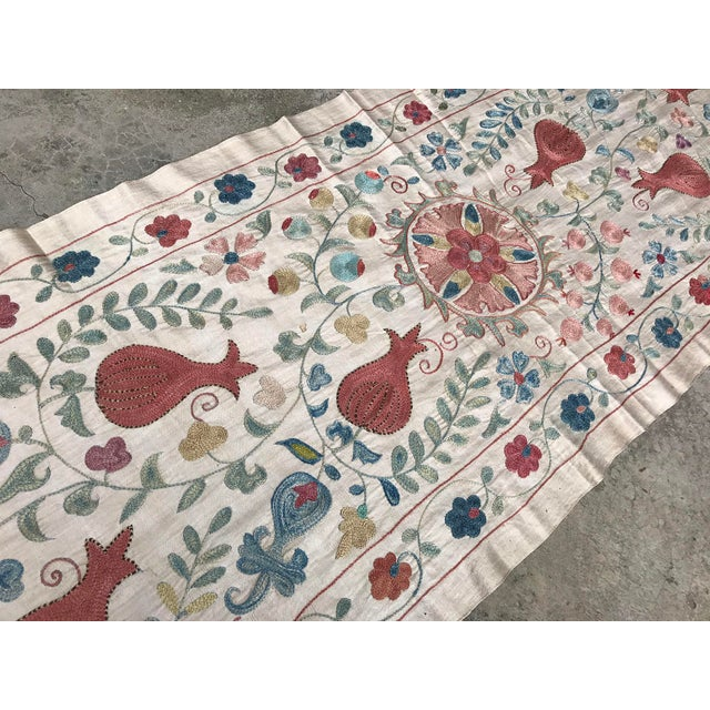 Vintage Pure Silk Suzani Table Runner - Image 3 of 6