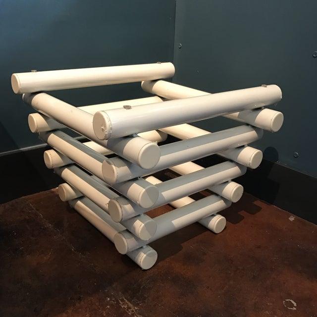 White Tubular Metal Side Table - Image 5 of 7