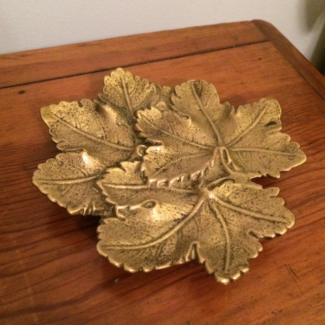 Solid Brass Maple Leaf Dish - Image 3 of 5
