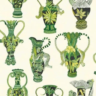 Cole & Son Khulu Vases Wallpaper Roll - Green & White For Sale