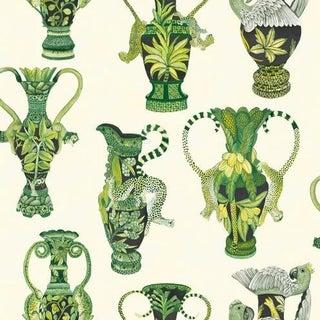 Cole & Son Khulu Vases Wallpaper Roll - Green & White For Sale