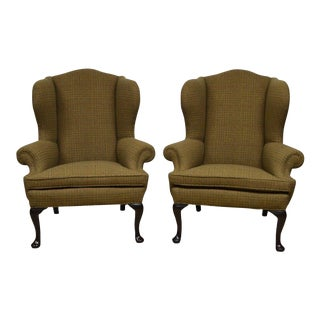 Ralph Lauren Upholstered Wingback Chairs - A Pair For Sale