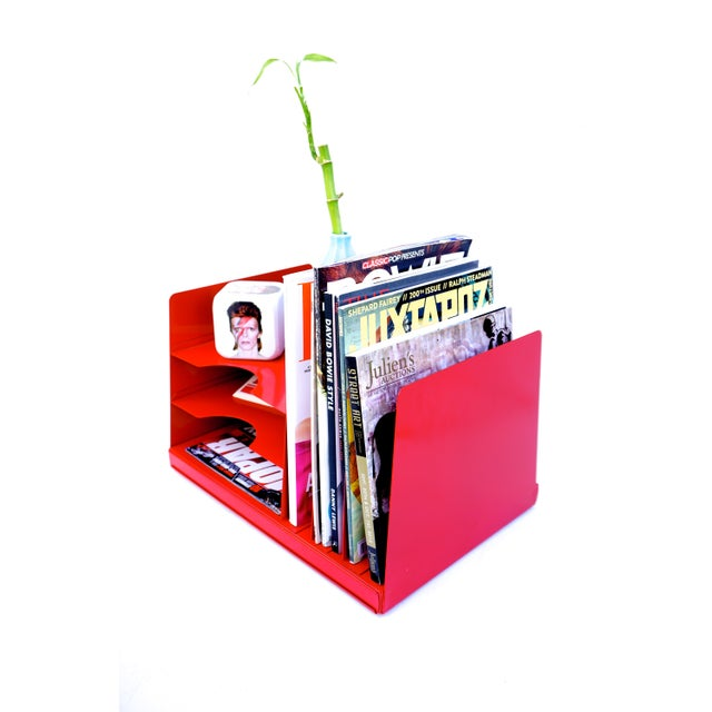 Mid-Century Industrial RED Steelcase File Rack For Sale - Image 5 of 9