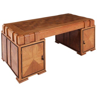 Art Deco Grand Oak Desk, France, 1940s For Sale