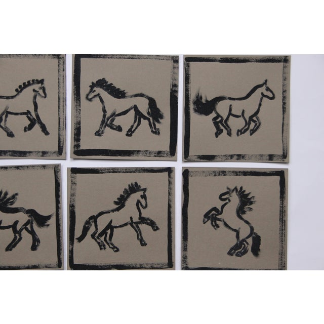 2020s Minimalist Set of 9 Horse Paintings by Cleo Plowden For Sale - Image 5 of 8