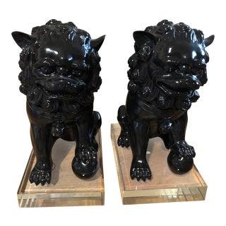 Asian Foo Dog Black Plexiglass Bookends - a Pair