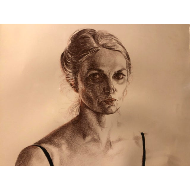 Contemporary 1981 Jill Cannady Self-Portrait Charcoal Drawing For Sale - Image 3 of 8
