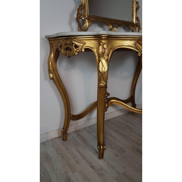 20th Century Italian Baroque Style Carved Gilded Wood Console Table With Mirror For Sale - Image 9 of 11