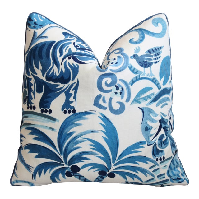 "P. Kaufmann Blue & White Animal Feather/Down Pillow 21"" Square For Sale"