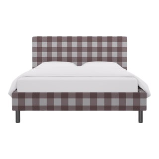 Queen Tailored Platform Bed in Rose Check For Sale