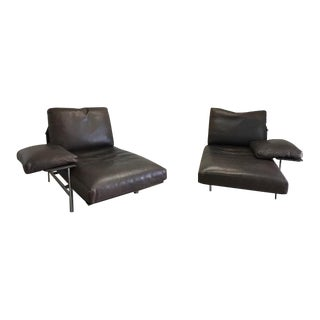 B& B Italia Bauhaus Diesis Leather Chaises - a Pair For Sale
