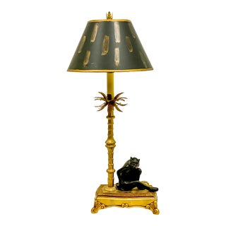 Hollywood Regency Style Monkey Palm Table Lamp For Sale