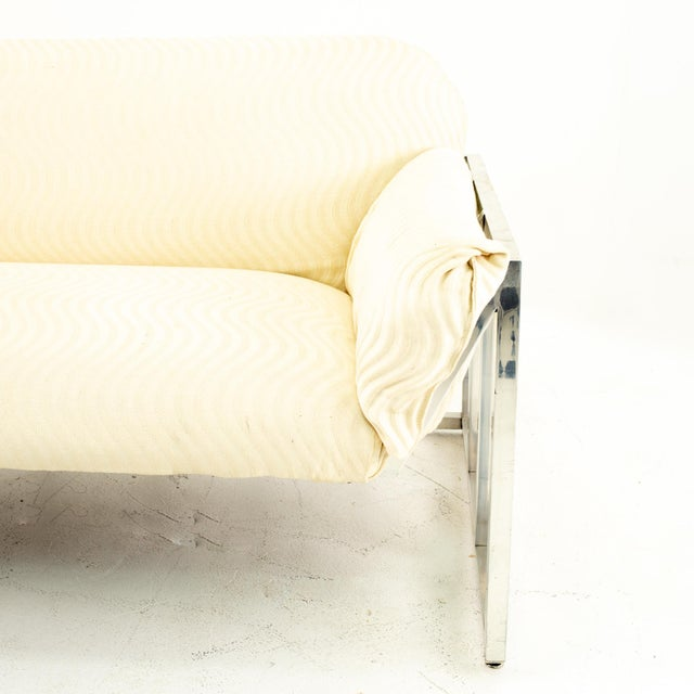 1960s Milo Baughman Style Mid Century Floating Chrome Setee For Sale - Image 5 of 10