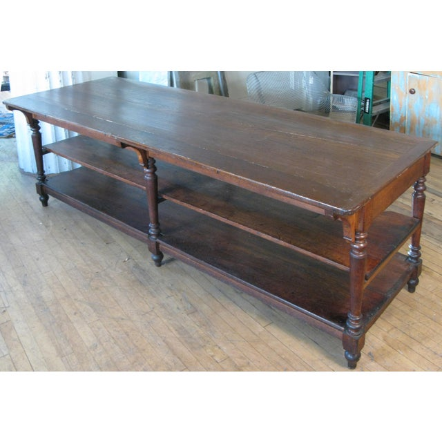 Brown Antique 1940s Three Shelf Mercantile Table For Sale - Image 8 of 8