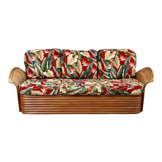Mid Century Modern Tiki Hawaiian Rattan Sofa by King's Rattan For Sale