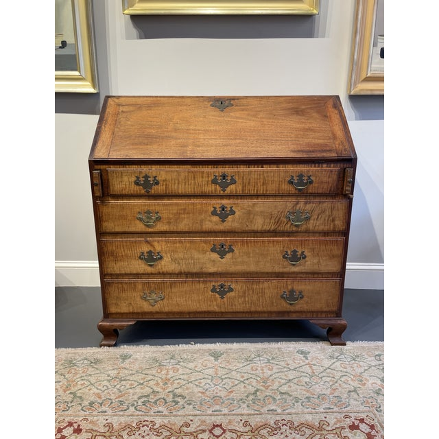 Chippendale Tiger Wood Slant Lid Desk For Sale - Image 11 of 11
