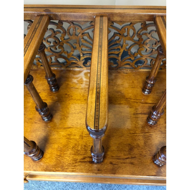 Mobili Burl Canterbury and Console With Carved Fretwork For Sale In Philadelphia - Image 6 of 12