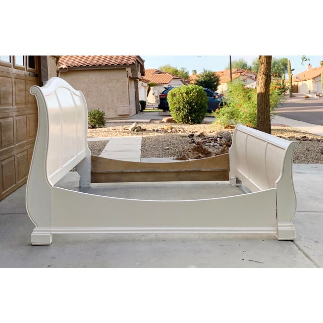 2000 - 2009 Solid Cherry King Size Sleigh Bed in Linen White For Sale - Image 5 of 8