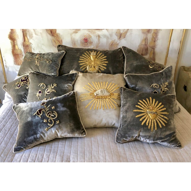 Grey Velvet Pillows Re-Designed With Antique 19th Century Silver Wire Embroidery, A-Pair. Embroidery C. 1800-1810. By...