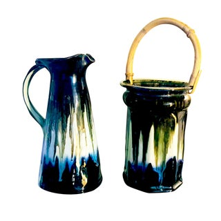 Edgecomb Potters of Maine Drip Glazed Pitcher & Pail - A Pair For Sale