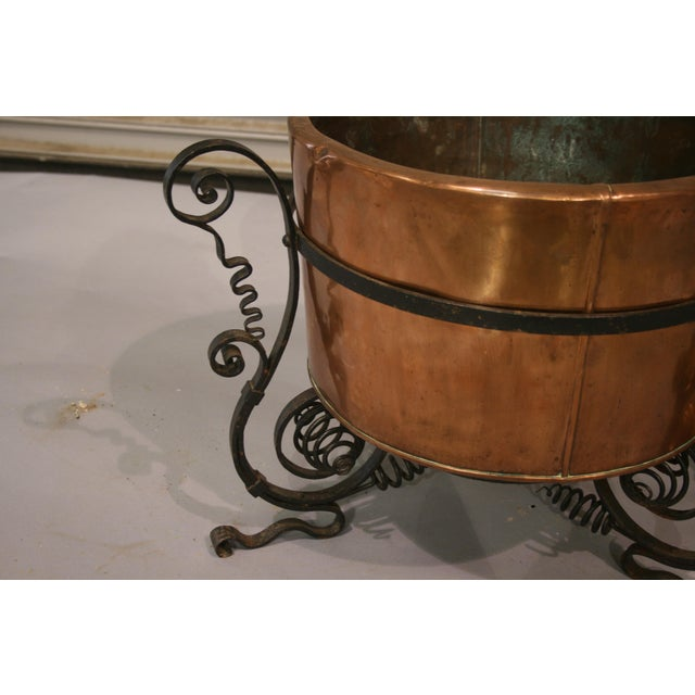 French Country French Antique Copper Cauldron With Iron Stand For Sale - Image 3 of 5