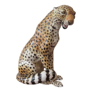 "Italian Ceramic Cheetah Hand-Painted Figure Signed ""Bonzani"" ""Monzani"""